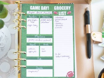 Game Day Meal Planning Page